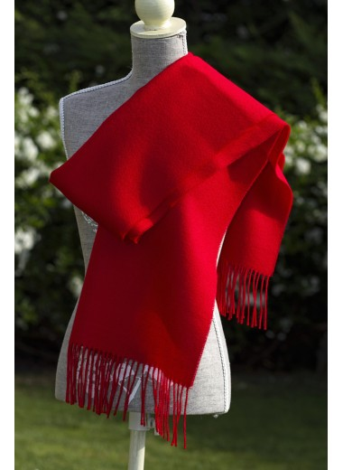 SCARF PLAIN LIGHT RED 100% BABY ALPACA
