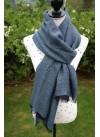 DARK BLUE HERRING BONE PASHMINA 100% BABY ALPACA