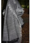 BLACK AND GREY HERRING BONE PASHMINA 100% BABY ALPACA