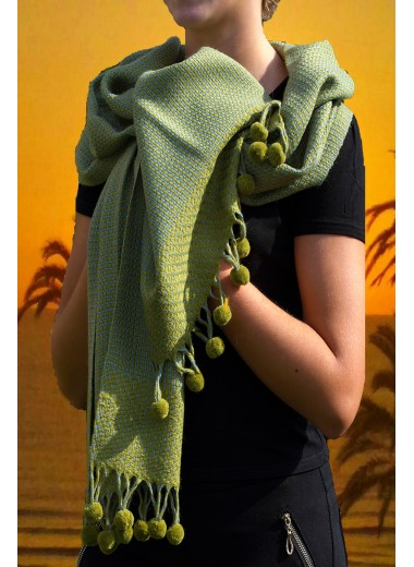 Scarf Green With Tassels