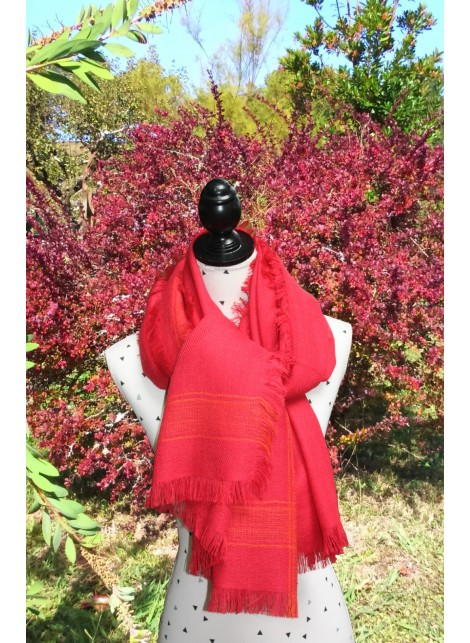 RED AND ORANGE SCARF 100% BABY ALPACA