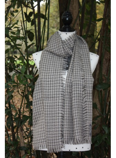 BLACK AND GREY MOTTLED PASHMINA 100% BABY ALPACA