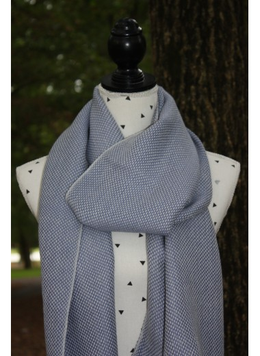 BLUE AND WHITE STONE PASHMINA 100% BABY ALPACA