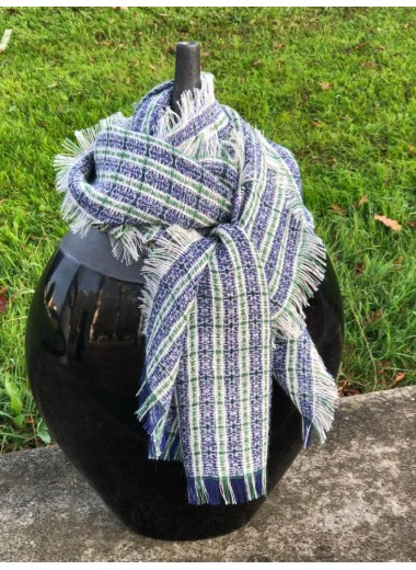 SCARFT TARTAN BLUE AND GREEN 100% BABY ALPACA