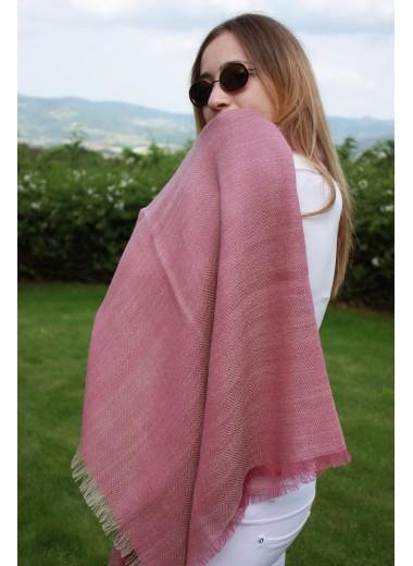 Pink Herring Bone Pashmina